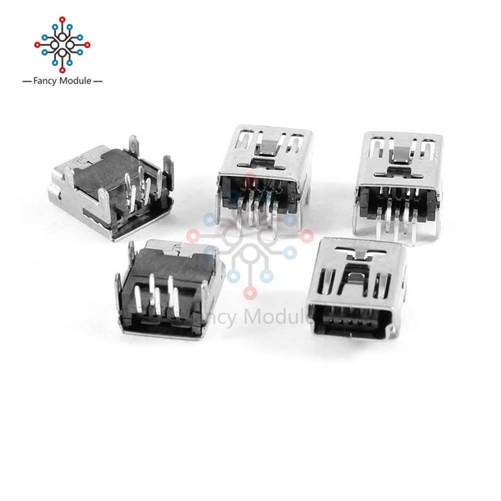 20X Mini Micro USB Type B 5 Pin Female Socket Right Angle DIP Jack Connector AP