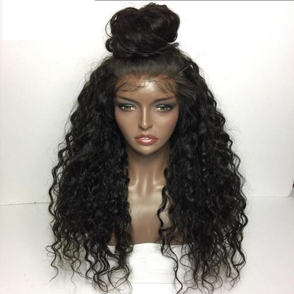 Fantasy Beauty 180% Heavy Density Water Wave Synthetic Lace Front Wig Heat Resistant Fiber Long Loose Curly Wigs For Women(China)