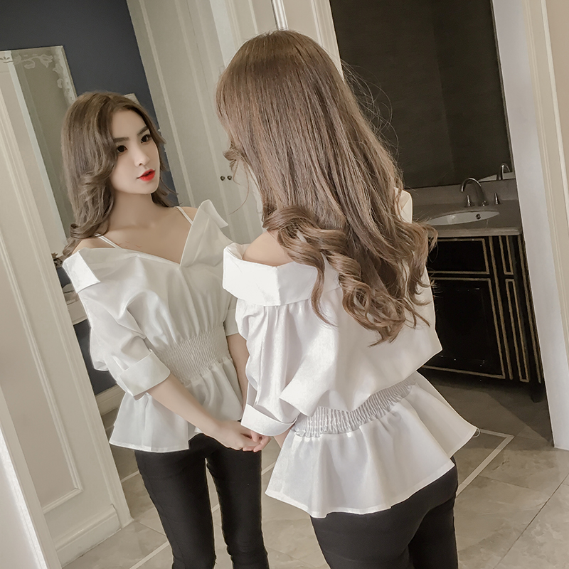 2019 Summer   Blouse     Shirt   Women Slash Neck Bat Sleeve Elastic Waist Frill Ruffles White Tops Korean Strap Off Shoulder   Blouses
