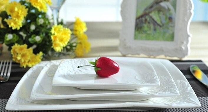 Vaisselle de service décorative en porcelaine | Céramique estampée de fleur, service d'assiettes plates pour la salade de boeuf Steak Spaghetti 3/ensemble - 5