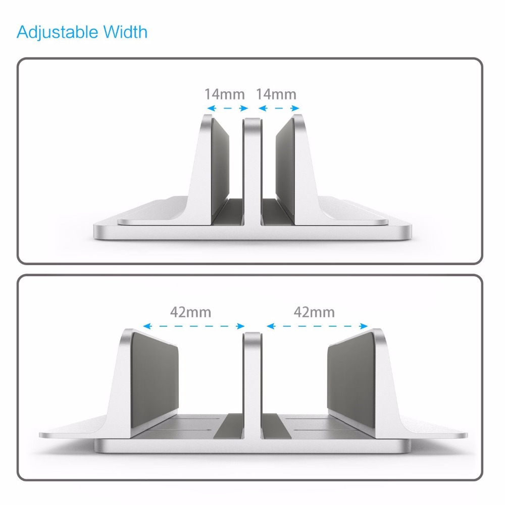 Vertical Laptop Stand 2 in 1 Design Desktop Space Saving Holder Thickness Adjustable Dock Suit for All MacBook/Surface/Samsung