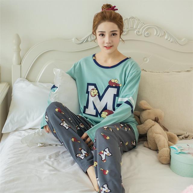 Encantador Dos Desenhos Animados Pijamas Mulher 2017 Primavera Outono Inverno Puro Algodão Conjuntos de Manga Longa de algodão Calças de Pijama Em Casa Pijamas Mujer