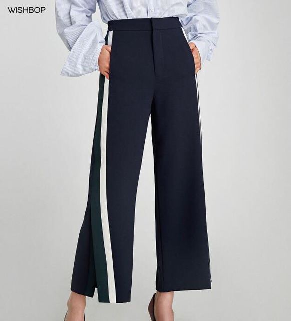 ef21e07100b62 WISHBOP NEW 2018 Spring Woman Navy High waist culottes Elastic waistband  back side Stripes pockets Slits hems Cropped Trousers