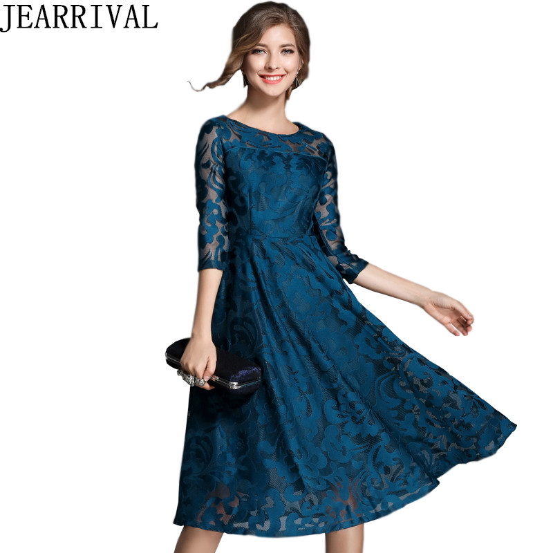 2018 New Fashion Spring font b Dress b font Elegant Women Elegant O Neck Hollow Out