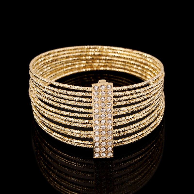 Fashion Multi Layer Rings Bangles for Women Rhinestones Plated Silver/Gold Pulseiras High Quality Hand Wear Trendy Jewelry Gifts
