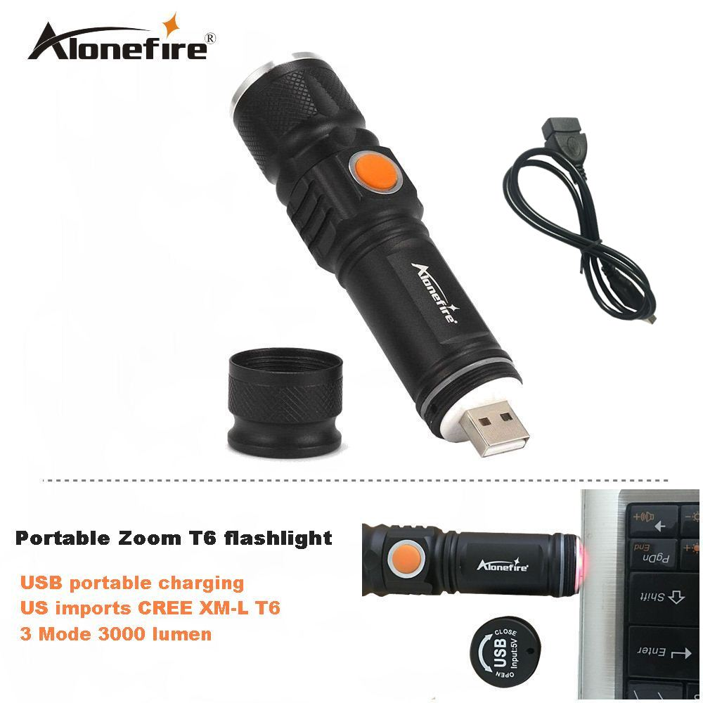 AloneFire UA100 USB Handy T6 LED Torch usb Flash Light Pocket LED Rechargeable Flashlight Zoomable Lamp For Hunting