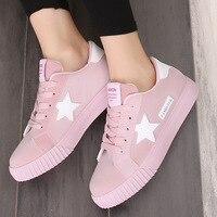 2017 New Casual Women Shoes Stars Fashion Patchwork Ladies Canvas Shoes Female Platform Trainers Basket Femme