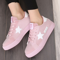 2017 New Casual Women Shoes Stars Fashion Patchwork Ladies Canvas Shoes Female Platform Trainers Basket Femme