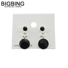 BIGBING jewelry fashion silver black round stud earrings set fashion stud earring high quality free shipping R174(China)