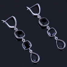 Fabulous Water Drop Black Cubic Zirconia 925 Sterling Silver Dangle Earrings For Women V0840