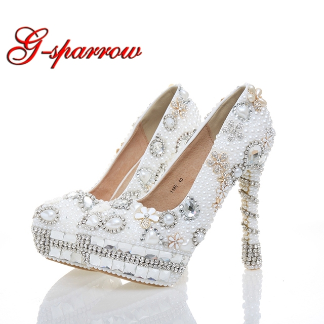 e8b2903c6a1 Gorgeous White Pearl Bridal Dress Shoes Women High Heels for Homecoming  Shoes Size 10-12 Customized Wedding Bridal Dress Shoes