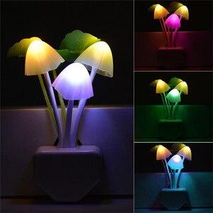 Image 1 - Multicolorเห็ดNight Lightปลั๊กไฟLightโรแมนติกSensorเห็ดLedโคมไฟEU/US Plugสำหรับเด็กนอนเด็กlight