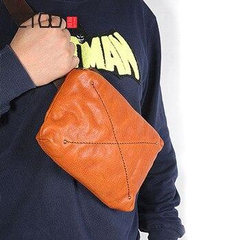 AETOO Original retro handmade suede leather mens chest pocket pockets mini casual Messenger bag youth vintage