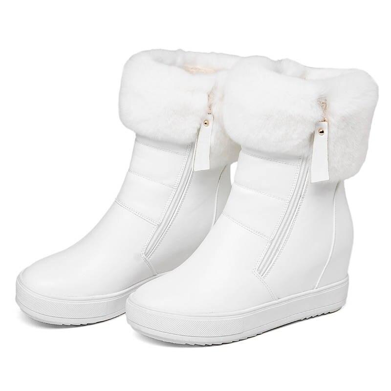 Simple Solide Couleurs Noir Rond 2018 Cheville Hiver Chaud Top forme blanc Plate Zipper Neige Garder Chaussures Morazora Qualité Bout Au Bottes Femmes tq6AxRZwRa