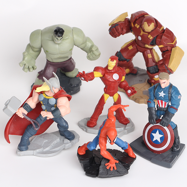 NEW hot 10cm 6pcs/set Avengers iron Man Spiderman Thor Hulk Hulkbuster Captain action figure toys collection doll Christmas gift new hot 22cm avengers super hero hulk movable action figure toys christmas gift doll with box