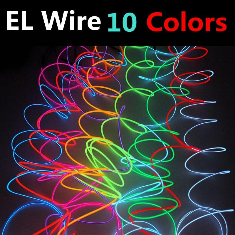 EL Wire Light 1/2/3/5/10M DIY Flexible Neon Light Glow Rope Tape ...