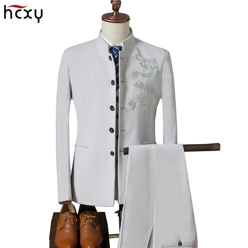 2018 Для мужчин китайских Стиль Вышитый Костюм жениха свадебное платье Для мужчин повседневный комплект одежды (куртка + брюки + жилет) мужски