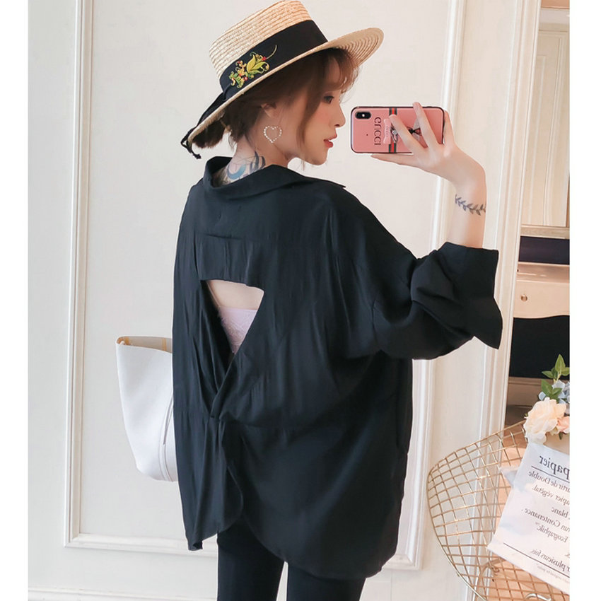 Women Oversized Shirts Black Top Boy Friend Style Shirt Woman Leisure Blouse Back Crochet Tops Loose Fit Turn Down Collar Shirt in Blouses amp Shirts from Women 39 s Clothing
