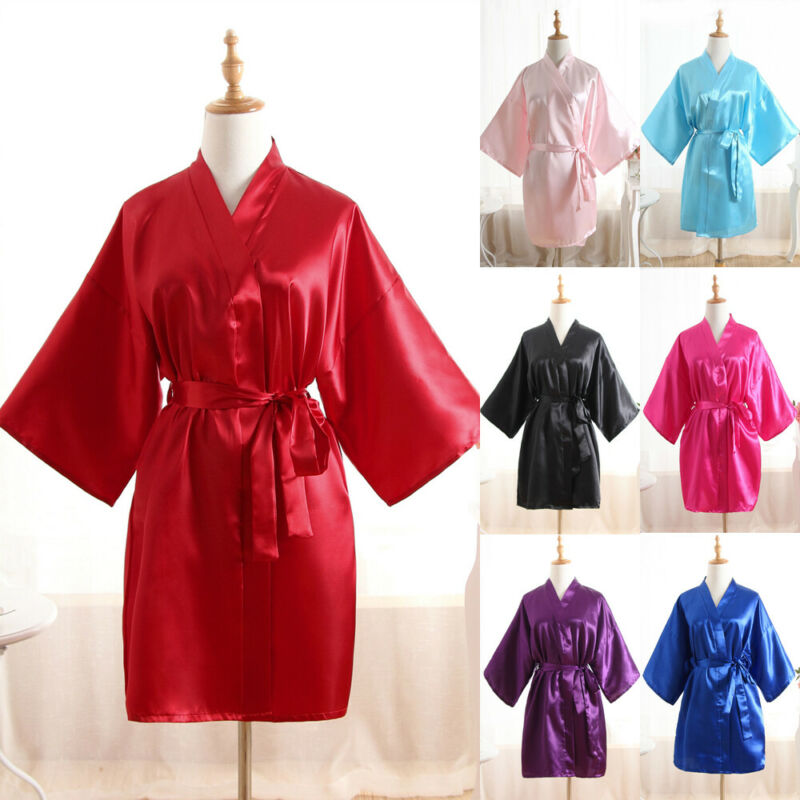 Women Solid Robe Silk Stain Robes Wedding Bride Night Gown Kimono Short Robe Sleepwear Party Gown