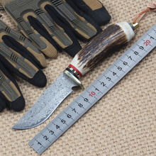 Antlers Handle Damascus Steel Hunting Knife Outdoor Camping Survival Knives With leather Sheath Rescue EDC Knife