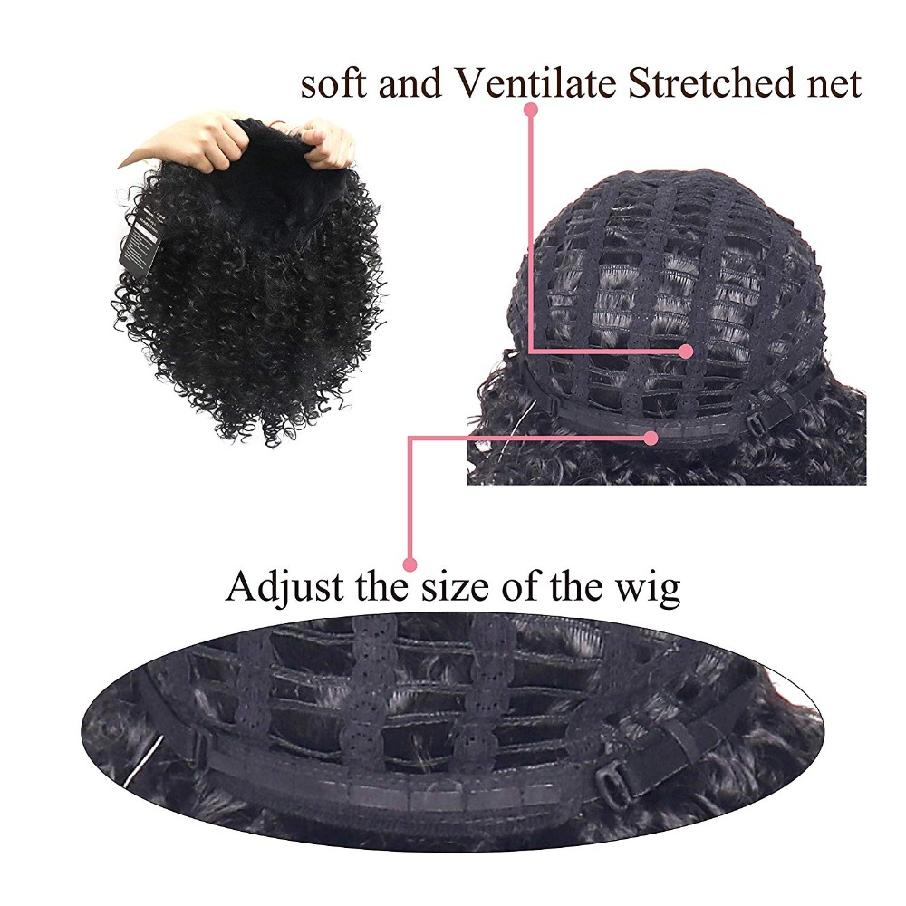 Image 2 - LISI HAIR Short Curly Natural Black Color Wigs For Blacck Women African Hairstyles Synthetic Hair High Temperature Fiber-in Synthetic None-Lace  Wigs from Hair Extensions & Wigs