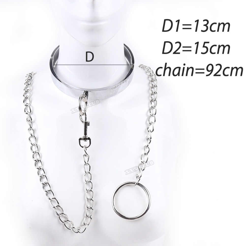 Superior Stainless Steel Slave Collar with chain, fetish Fantasy sex products Bondage Restraints Sex Toys for Couples sex games