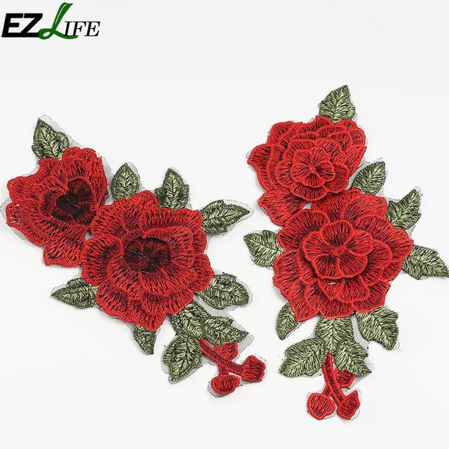 2pcsset Rose Flower Embroidery Patches Sticker For Clothes Parches
