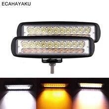 ECAHAYAKU 2Pcs 6inch 60W Car Led Light Bar 3000K 6000K Dual Color 12V 24V Lamp for Off Road 4x4 SUV Trucks Trailers Boat