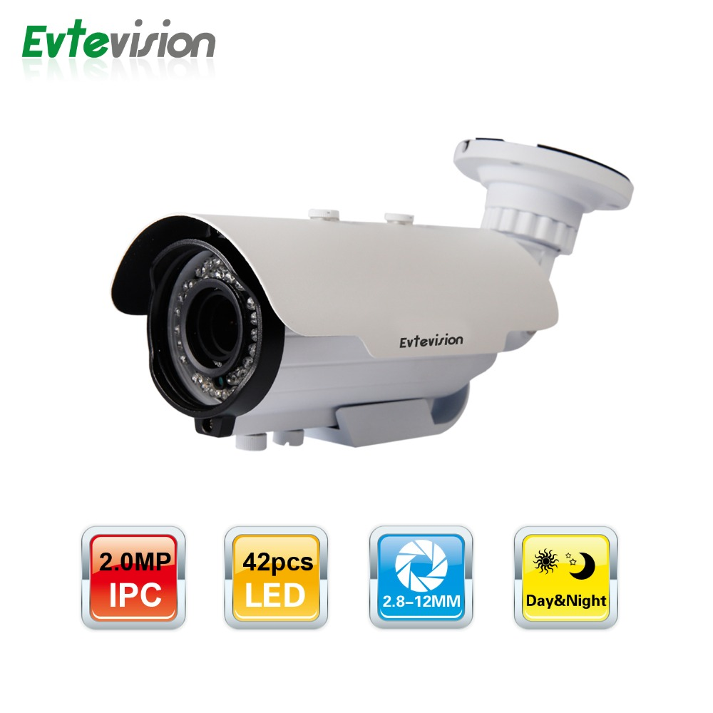 Evtevision Bullet Cam 2.0MP H.265 IP Camera 1080P Vari focal Lens 40M Night vision Onvif Smartphone view P2P Cloud CCTV camera  free shipping evtevision 720p 2 8 12mm vari focal lens ahd camera indoor plastic dome 15m night vision cctv security camera