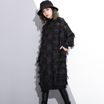 [EAM] 2019 New Autumn Winter Stand Collar Long Sleeve Perspective Black Loose Tassels Big Size Dress Women Fashion Tide JI780 1