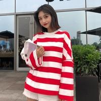 blusas feminina spring summer style autumn 2018 korean women top horn sleeve turtleneck cute sweet stripes t shirts female Y1478