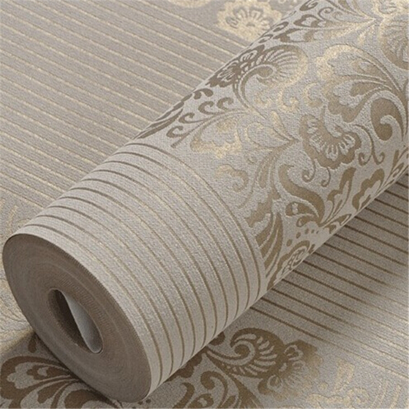 beibehang Home Improvement wall paper modern Fashion Non-woven Flocking Wallpaper Rolls for bedroom background wall 5 Colors R19 beibehang non woven pink love printed wallpaper roll striped design wall paper for kid room girls minimalist home decoration