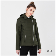 ICEbear Women's Spring Parkas 2018 Zippers Thin Casual Cotton Padded Jackets Polyester Light Slim Short Hooded Coat GWC18001D