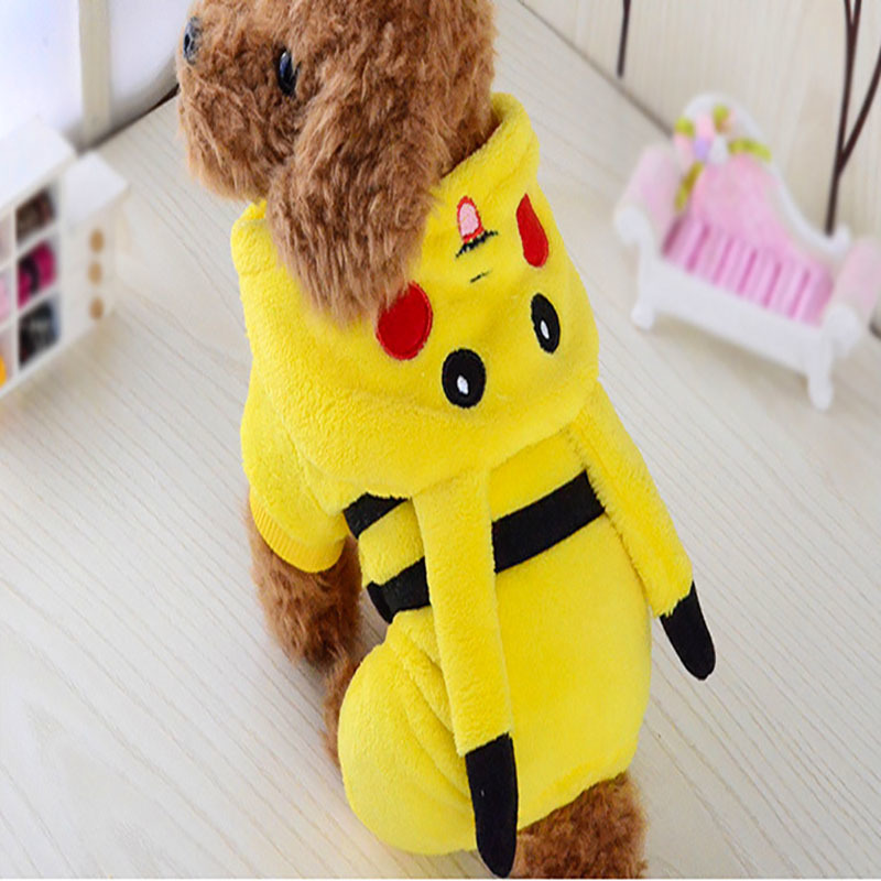 Pikachu Cartoon Funny Dog Clothes For Small Dogs Winter French Bulldog Jacket Dog Halloween Costume Chihuahua Outfit Pet Clothes in Dog Coats Jackets from Home Garden