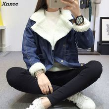 2018 New Winter Warm Fur Jeans Jacket Women Bomber Jacket Blue Denim Jacket Female Coat with Full Warm Lining & 2 Pockets jacket stone wash denim jacket with pockets