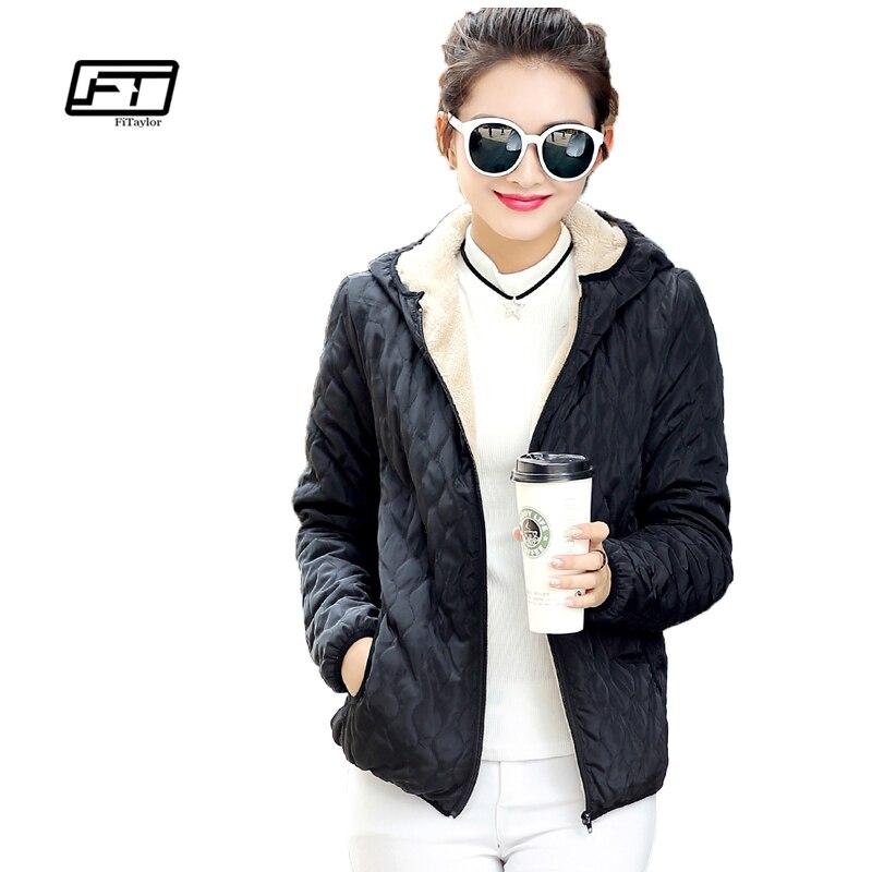 Fitaylor Новый Демисезонный Для женщин куртка Повседневное Хлопковые пальто с капюшоном плюс Размеры куртка Тонкий Abrigos решетки Мужские парки стеганые пальто