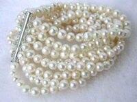 New charming 8 rows 6 mét trắng nước ngọt Ngọc Trai Shell bracelet 7.5 inch Thời Trang Jewelry Making Thiết Kế Quà Tặng Cho Em Gái Phụ Nữ W0021