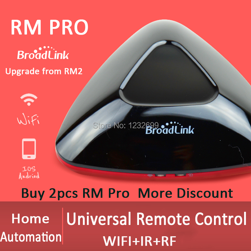 2018 Seller 2pcs Broadlink RM PRO+ Universal Remote Controller Smart Home Automation WIFI IR RF Intelligent Switch IOS Android broadlink rm2 rm pro universal intelligent remote switch smart home automation wifi ir rf switch via ios android phone