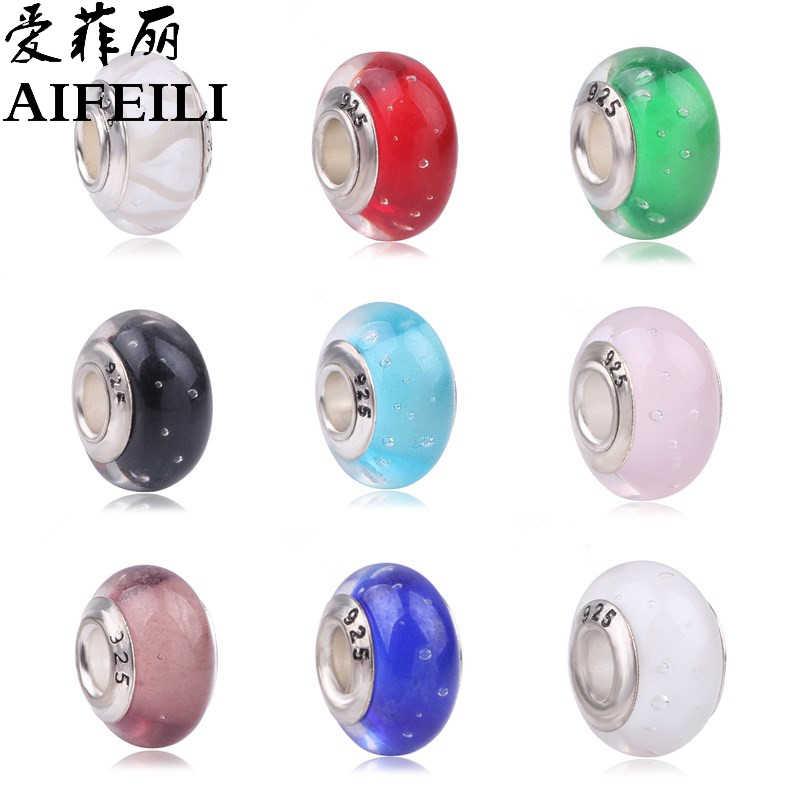 AIFEILI Chất Lượng Cao Bạc Silve TỰ Murano Glass Beads Fit Pandora Bracelet Bangles Charms Đối Với Phụ Nữ Gốc Jewelry Châu Âu