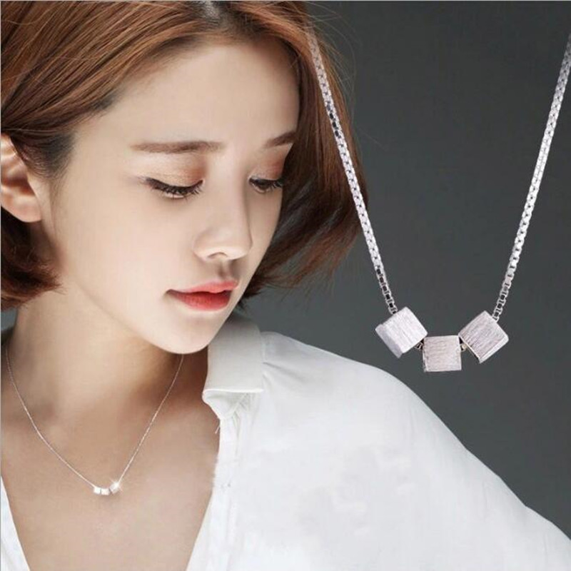 Personality Three dimensional Block Brushed 925 Sterling Silver Korean Fashion Jewelry Clavicle Chain Pendant Necklace H14