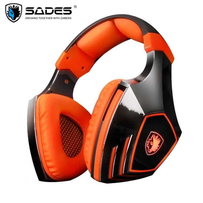 SADES A60 Pro USB 7.1 Canal Stéréo Casque Jeu pour Ordinateur Vibrations Basse Casque Écouteurs Avec Micro LED Isolation Du Bruit