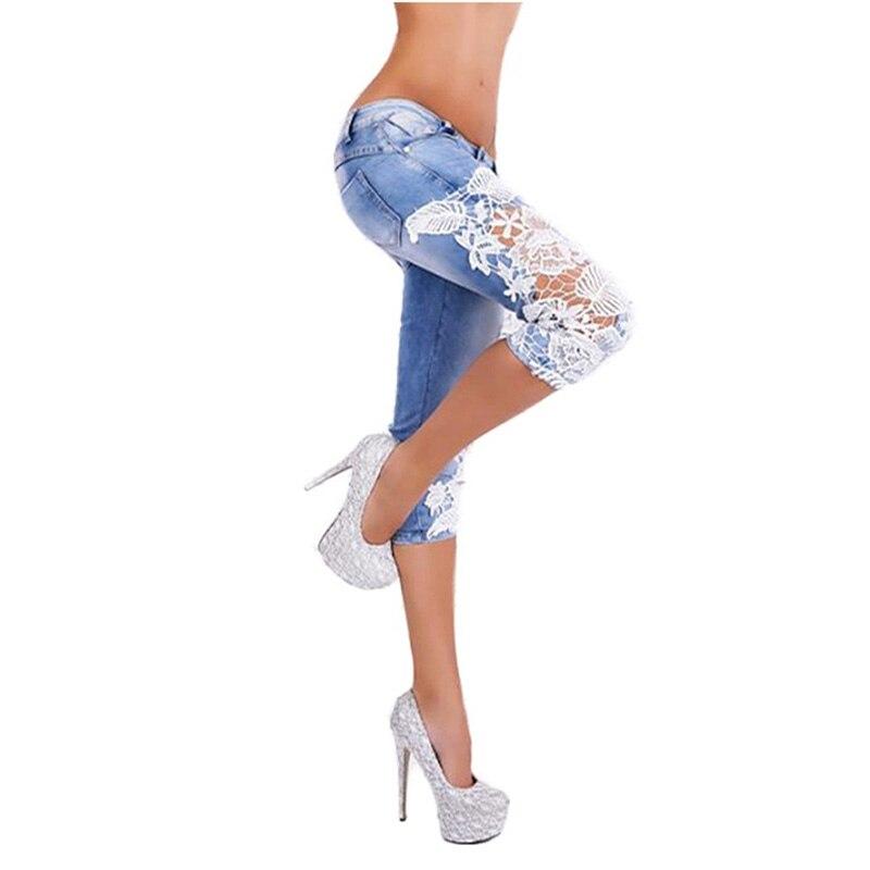 2017 Women Light Blue Denim Crochet Lace Hollow Out Sexy Skinny Legs Stretch Pencil Jeans Short Knee Length Jeans Plus Size sexy women denim light blue skinny jeans crochet lace party female carve flower pants for women plus size s 3xl clothing k096