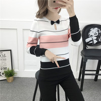 New Fall Winter Women Fashion Preppy Style Knitting Patchwork Color Striped Bowknot Regular Fit Sweater Female