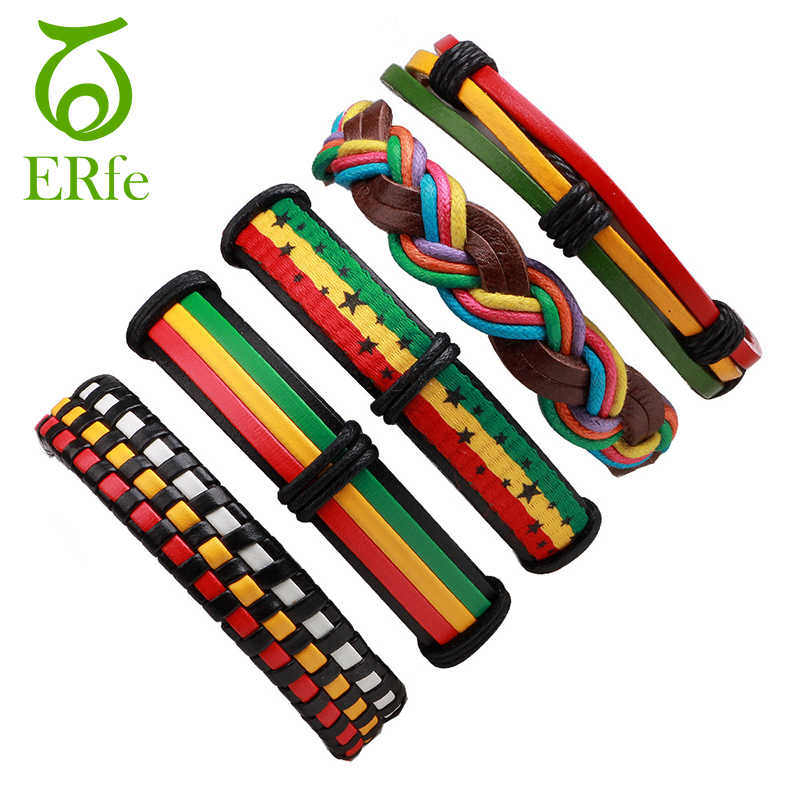 5pcs Hiphop Male Leather Jamaica Bracelet Rasta Reggae Bracelets Women Rock Style Hand Jewelry Pulceras Femininas LB032
