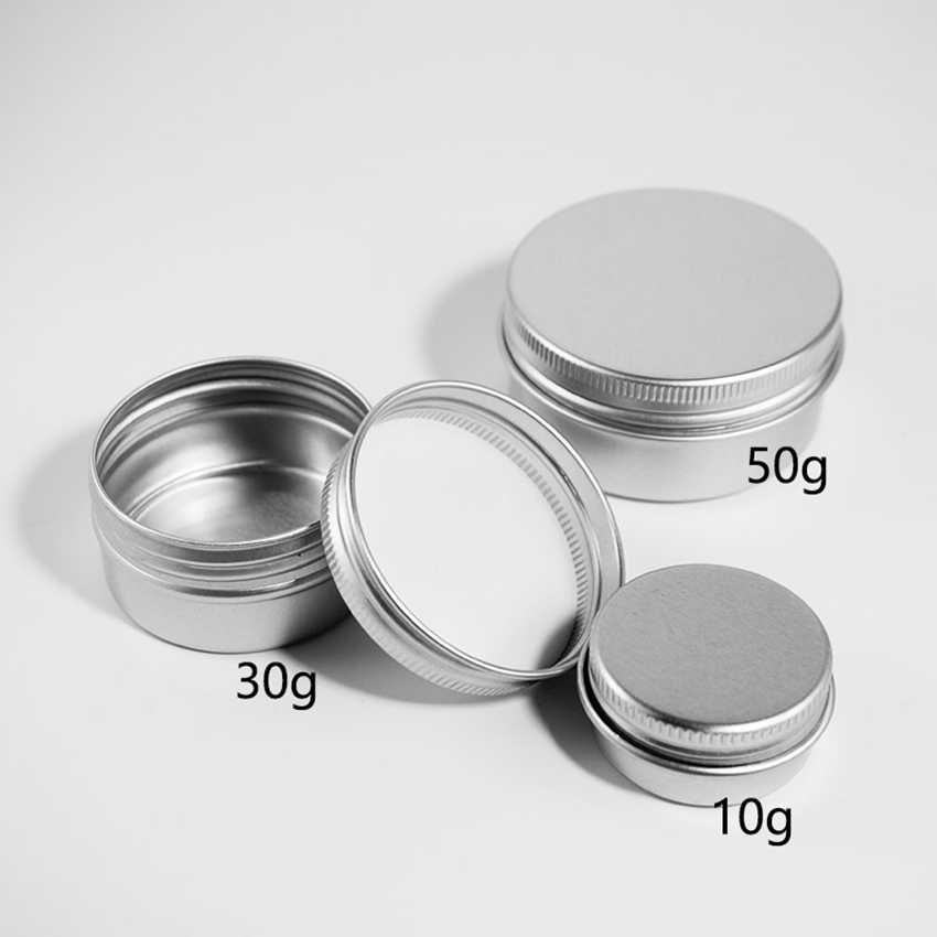 10/15/30/50g Round Aluminum Storage Bottle Jar Cream Cosmetic Case Container Portable Makeup Multi-functional Box With Cover