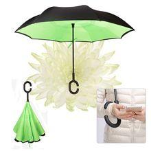 windproof reverse folding double inverted umbrella self-standing rainproof C-type hook hands car umbrella