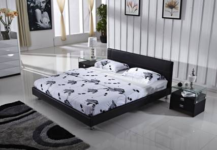 Cuero genuino barato cama suave, clásico de cuero negro, 1.8 / 1.5 M ...