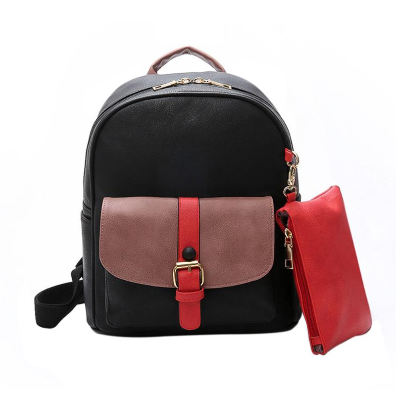 2Pcs Patchwork Rivet Women Backpack Preppy Style Pu Leather Backpack For Teenager Luxury Women Backpack Mochila Rucksack
