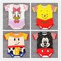 Meninos do bebê Macacão de Bebê Recém-nascido Roupas de Verão Dos Desenhos Animados Infantil Macacões de Manga Curta Conjuntos de Roupas Meninas Do Bebê Unissex Roupas Bebes
