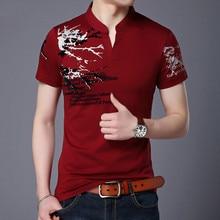 2018 Summer Mens Polo Shirt V Collar Printing Short Sleeve Polo Shirts Burgundy Breathable Casual Classic Male Clothing M 4XL